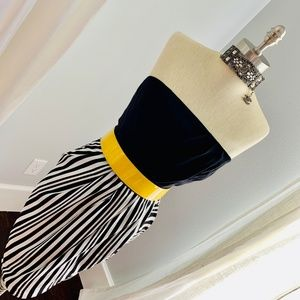 Sexy Black White Stripe Silk Strapless Dress - 6